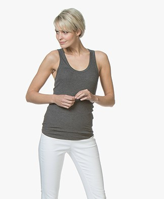 Majestic Rib Jersey Tank Top in Washed Viscose - Flanelle
