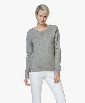 Majestic Tweed Look Cotton Blend Pullover - Anthracite/Milk