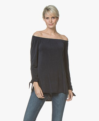 no man's land Cupro Off-shoulder Long Sleeve - Dark Sapphire
