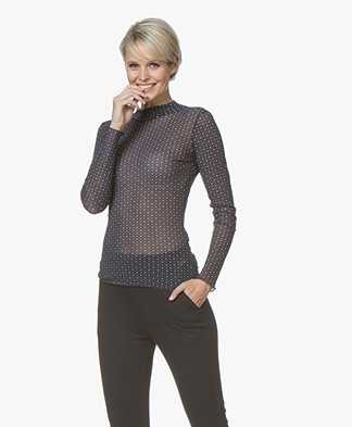 no man's land Printed Mesh Turtleneck - Sapphire