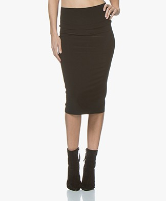 Norma Kamali Straight Travel Jersey Skirt - Black