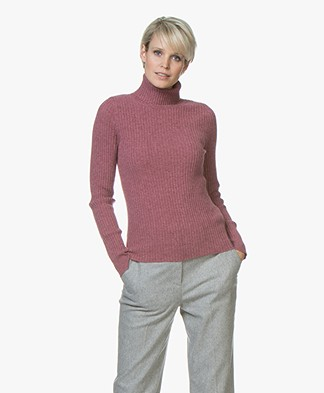 Repeat Pure Cashmere Rib Turtleneck Pullover - Plum