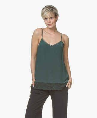 Repeat Silk and Lace Camisole - Forest