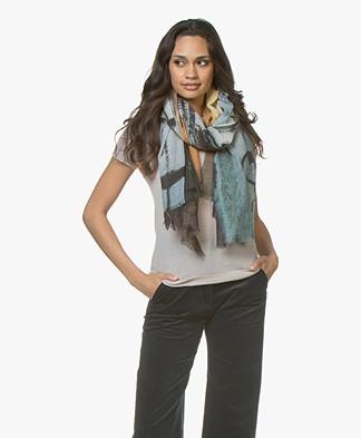 LaSalle Exclusieve Sjaal met Amsterdam-Print - Snow Westertoren