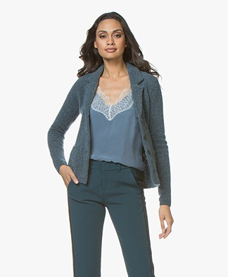 Belluna Shines Mohair Blend Blazer Cardigan - Sea