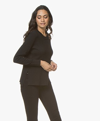 Denham North Sweater with Side Slits - Shadow Black