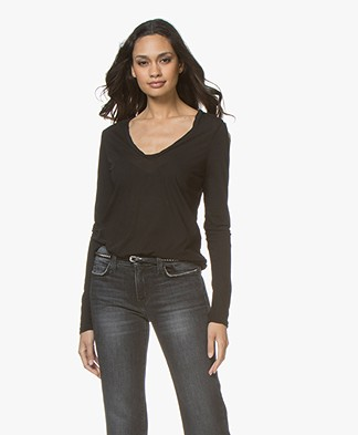 James Perse V-neck Long Sleeve in Extrafine Jersey - Black
