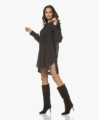 Magali Pascal Anine Silk Mini Shirt Dress - Midnight