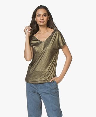 Petit Bateau Lurex Dubbel V-hals T-shirt - Zwart/Goud