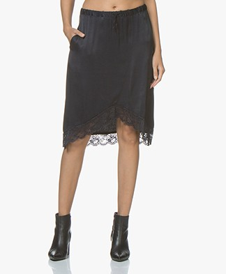 Ragdoll LA Satin Skirt with Lace - Dark Navy