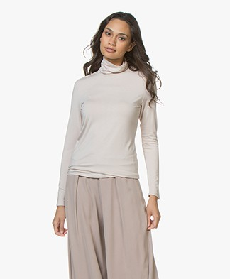 Repeat Viscose Jersey Turtleneck Long Sleeve - Beige