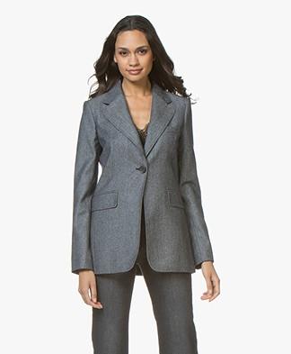 Vanessa Bruno Joya Tweed Wool Blend Blazer - Marine