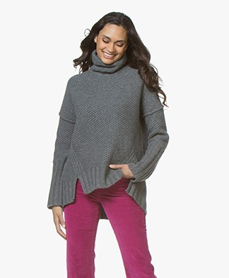 Zadig & Voltaire Alma Deluxe Cashmere Turtleneck Sweater - Grey Melange