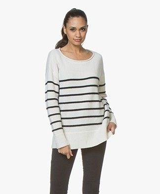 Plein Publique La Blonde Cashmere Striped Sweater - Off-white