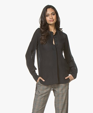 Magali Pascal Alma Silk Seersucker Blouse - Midnight