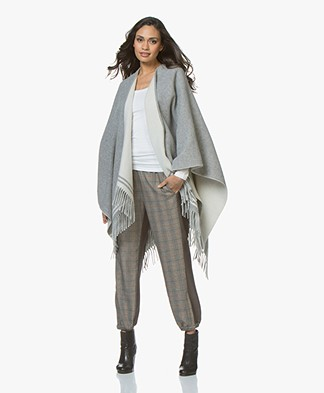 Rag & Bone Striped Wool Poncho - Grey Multi