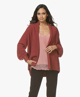 Repeat Mohair Blend Open Cardigan with Shawl Collar - Rust