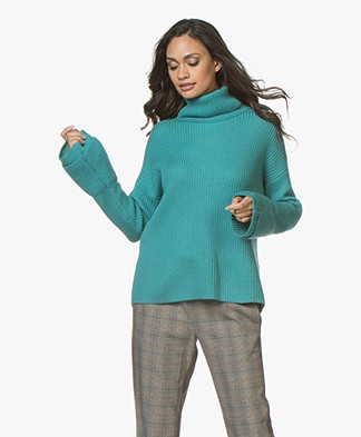 Repeat Rib Turtleneck Sweater with Flared Cuffs - Watergreen
