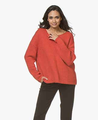 Sibin/Linnebjerg Nova Alpaca Blend Oversized Sweater - Warm Orange