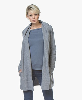 Repeat Half Long Hooded Cardigan in Merino - Medium Grey
