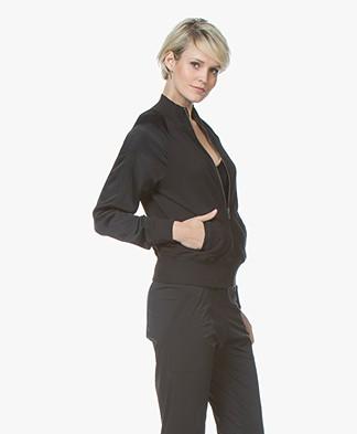 BRAEZ Joy Bomber Cardigan with Satin Sleeves - Black