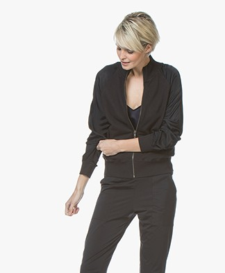 BRAEZ Joy Bomber Cardigan with Satin Sleeves - Black