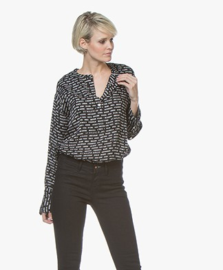 By Malene Birger Rasifiola Viscose Blouse with Print - Black