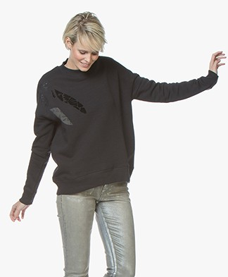 Denham Deco Sweater with Abstract Print - Shadow Black
