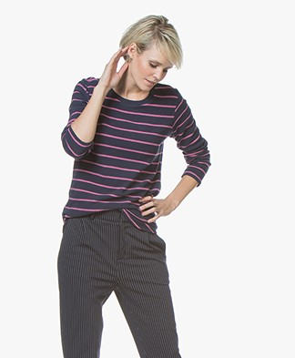Denham Icicle Striped Sweater in Cotton Fleece - Navy/Pink