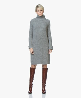 Drykorn Arwenia Rib Knit Turtleneck Dress - Grey