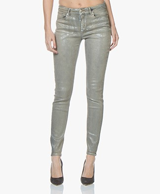 DrykornPull Coated Skinny Jeans - Silver Beige