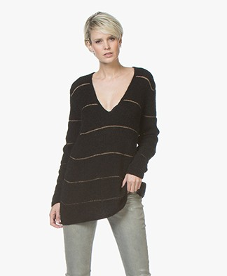 Drykorn Selen Long Striped V-neck Sweater - Black