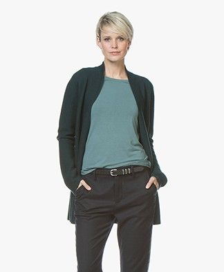 no man's land Open Woolen Rib Cardigan - Dark Emerald