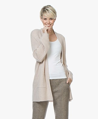 Repeat Cashmere Half Long Open Rib Cardigan - Beige