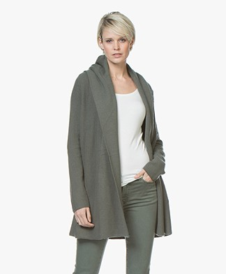 Repeat Half Long Hooded Cardigan in Merino - Khaki
