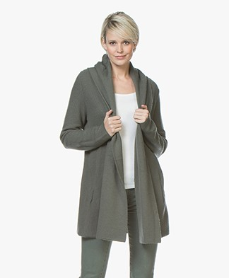 Repeat Half Long Hooded Cardigan - Khaki