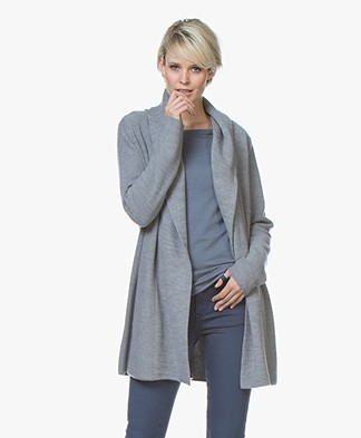 Repeat Half Long Hooded Cardigan - Medium Grey