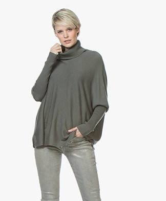Repeat Oversized Merino Turtleneck Sweater - Khaki
