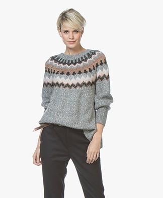 Repeat Intarsia Chevron Sweater - Grey