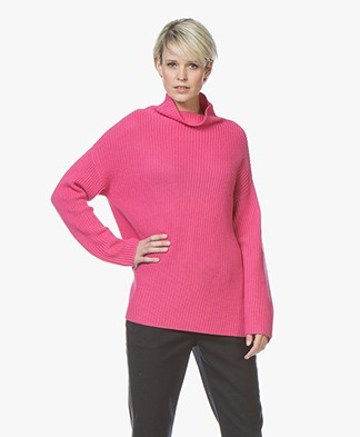 Repeat Merino Ribbed Turtleneck Sweater - Pink