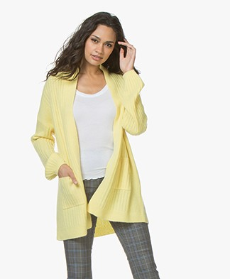Repeat Cashmere Half Long Open Rib Cardigan - Pineapple