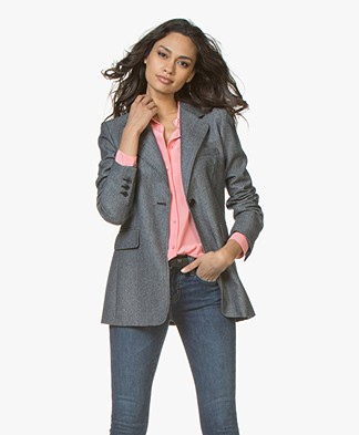 Vanessa Bruno Joya Tweed Wool Blend Blazer - Marine