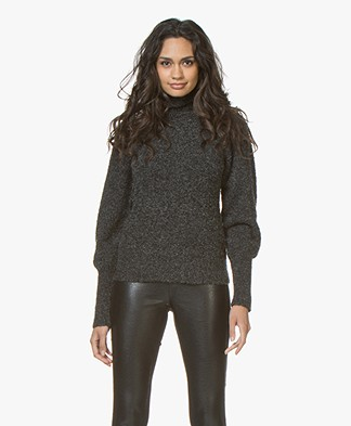 Denham Interlude Boucle Knit Turtleneck Sweater - Shadow Black