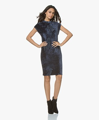 Denham Victory Velvet Ausbrenner Dress - Midnight Blue