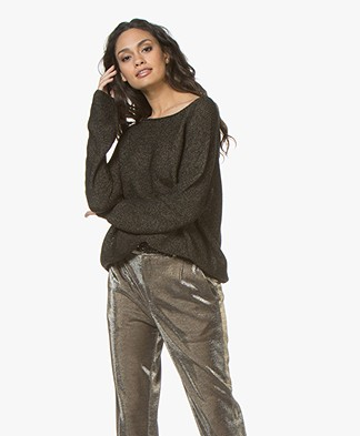Drykorn Milty Knitted Lurex Pullover - Black/Gold/Silver