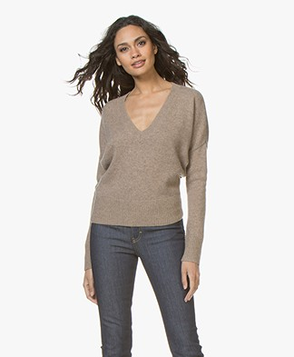 Vanessa Bruno Joel V-neck Sweater in Wool and Yak - Taupe