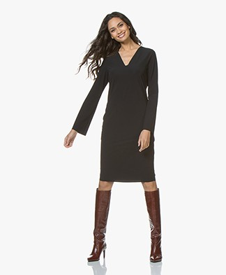 JapanTKY Phyla Travel Jersey V-neck Dress - Black