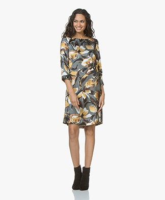 Kyra & Ko Dieke Printed Satin Dress - Granite