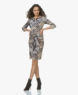 Kyra & Ko Sara Scuba Jersey Print Dress - Granite