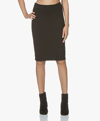 Kyra & Ko Yvette Interlock Jersey Pencil Skirt - Black
